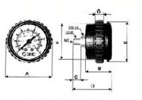 Manometer, Doppelanzeige (MPa, bar), Paneleinbau KP